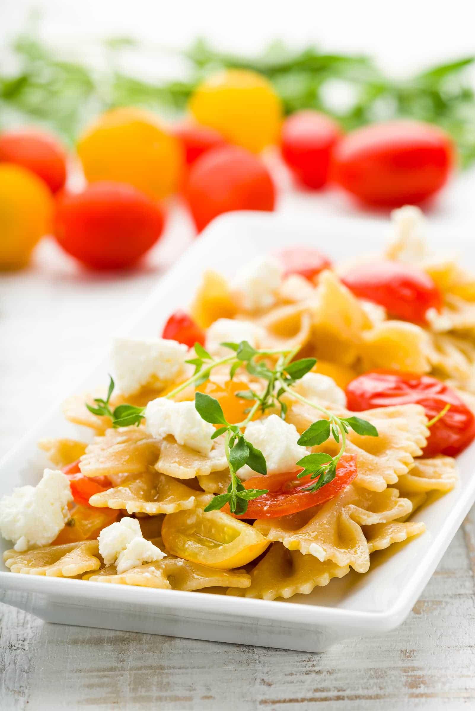 Pasta sugo pomodorini feta timo hero ricetta gnamam.com