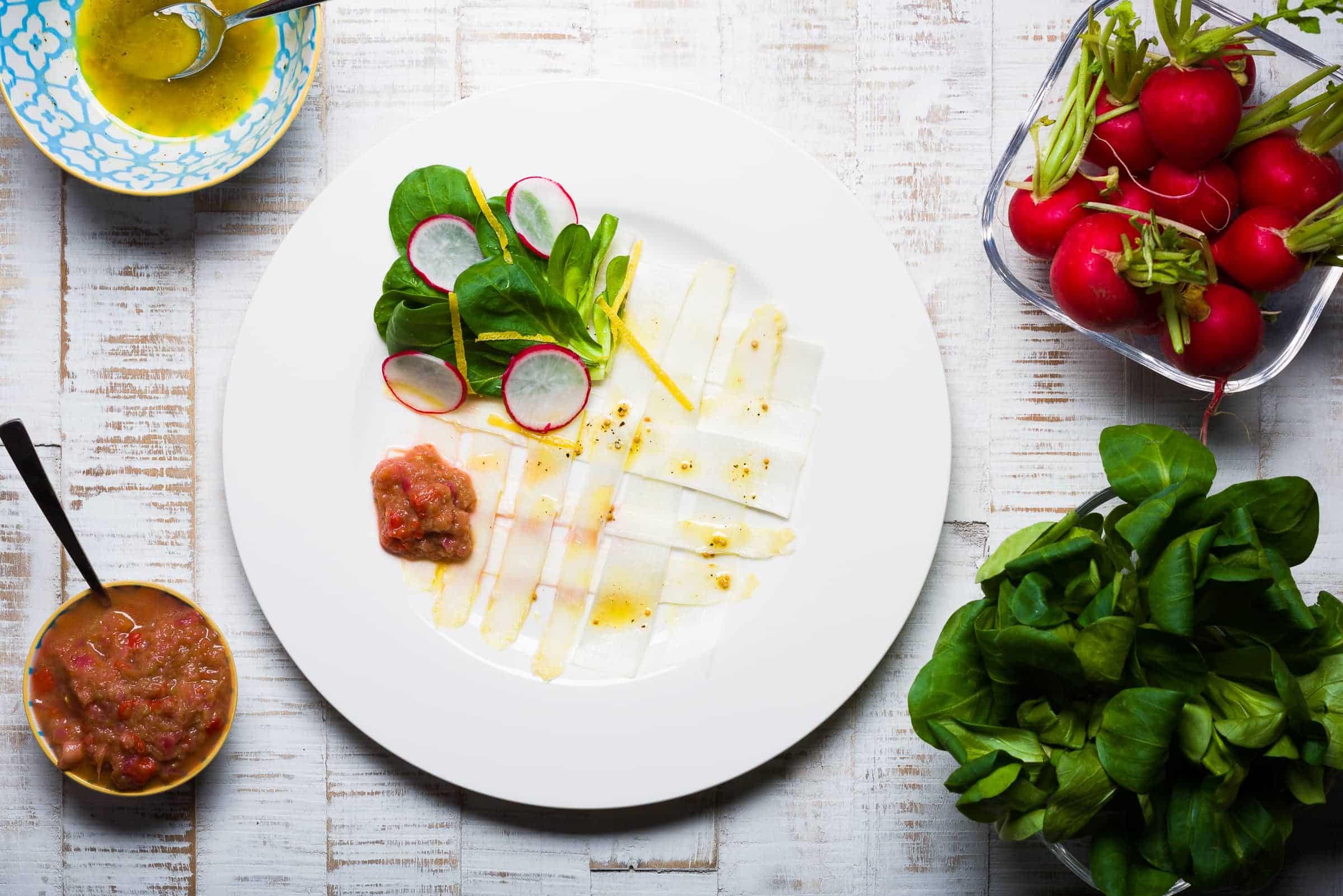Carpaccio di asparagi bianchi con citronette alla senape ricetta hero-cover GnamAm